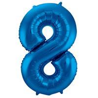 EzyDog Folie Ballon Cijfer 8 Blauw cm