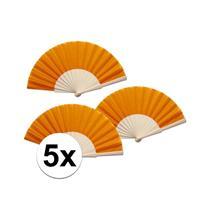 5 stuks zomerse Spaanse waaiers oranje Oranje