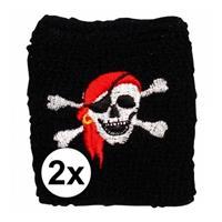 2 stuks Piraten zweetbandje Zwart