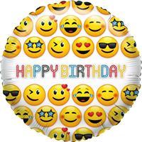 Folie ballon smiley verjaardag 35 cm Geel