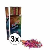 3 stuks Confetti kanonnen kleuren 60 cm Multi