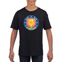 Shoppartners Zwart kampioen shirt voor kinderen