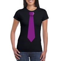 Shoppartners Zwart t-shirt met paarse stropdas dames Zwart