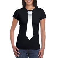 Shoppartners Zwart t-shirt met witte stropdas dames Zwart