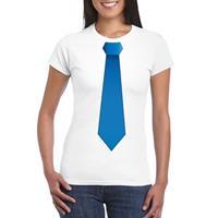 Shoppartners Wit t-shirt met blauwe stropdas dames Wit