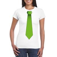 Shoppartners Wit t-shirt met groene stropdas dames Wit