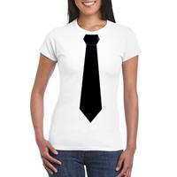 Shoppartners Wit t-shirt met zwarte stropdas dames Wit