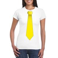 Shoppartners Wit t-shirt met gele stropdas dames Wit