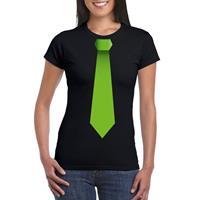 Shoppartners Zwart t-shirt met groene stropdas dames Zwart