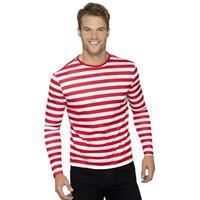 Smiffys Gestreept shirt wit/rood voor volwassenen