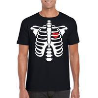Shoppartners Halloween skelet t-shirt zwart heren Zwart