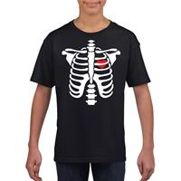 Shoppartners Halloween skelet t-shirt zwart kinderen Zwart