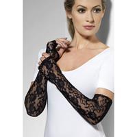 Smiffys Vingerloze lange kanten handschoenen zwart voor volwassenen