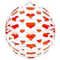 2x stuks Bol lampionnen rond met rode hartjes 36 cm Multi