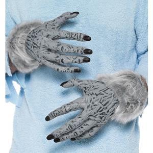 Smiffys Weerwolf handschoenen grijs met nepbont voor volwassenen