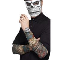 Smiffys 2x Tattoo sleeves Day of the Dead voor volwassenen