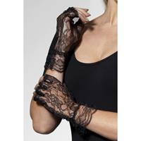 Smiffys Vingerloze kanten handschoenen zwart voor volwassenen