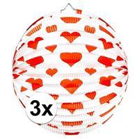 3x stuks Bol lampionnen rond met rode hartjes 36 cm Multi