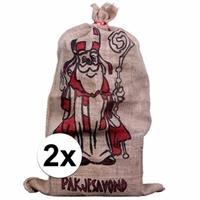 2x Jute zakken voor Sinterklaas 60 x 102 cm Multi