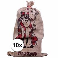 10x Jute zakken voor Sinterklaas 60 x 102 cm Multi