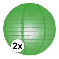 2x Luxe bol lampionnen groen 25 cm Groen