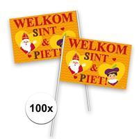 Folat 100x Welkom Sint en Piet zwaaivlaggetje Multi