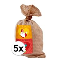 Folat 5x Medium jute kadozak Sinterklaas 50x80 cm Multi