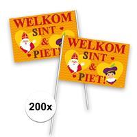 Folat 200x Welkom Sint en Piet zwaaivlaggetje Multi