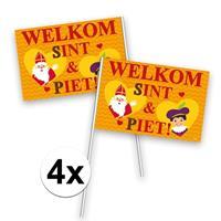 Folat 4x Welkom Sint en Piet zwaaivlaggetje Multi