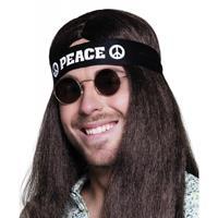 Zwarte peace hoofdband volwassenen Zwart