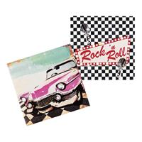 12x Rock n Roll servetten 33cm Multi