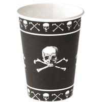 Halloween - Zwarte piraten bekers met doodshoofd Zwart