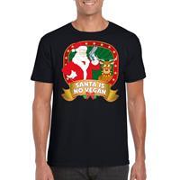 Shoppartners Foute Kerst t-shirt zwart Santa is no vegan heren Zwart