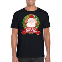 Shoppartners Foute Kerst t-shirt zwart Fuck off I hate x-mas heren Zwart