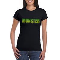 Shoppartners Halloween - Halloween monster tekst t-shirt zwart dames Zwart