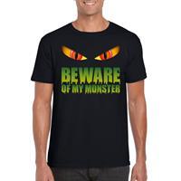 Shoppartners Halloween - Beware of my monster Halloween t-shirt zwart heren Zwart