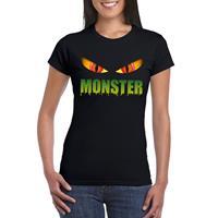 Shoppartners Halloween - Halloween monster ogen t-shirt zwart dames Zwart