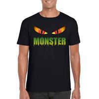 Shoppartners Halloween - Halloween monster ogen t-shirt zwart heren Zwart