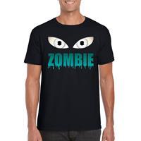 Shoppartners Halloween - Halloween zombie ogen t-shirt zwart heren Zwart