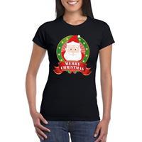 Shoppartners Kerst t-shirt met Kerstman zwart Merry Christmas voor dames