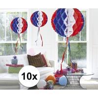 10x feestversiering decoratie bollen in Amerikaanse kleuren 30 c Multi