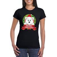 Shoppartners IJsbeer Kerst t-shirt zwart Merry Christmas voor dames