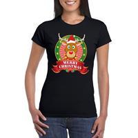 Shoppartners Rudolf Kerst t-shirt zwart Merry Christmas voor dames