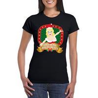 Shoppartners Foute kerst t-shirt zwart Touch my jingle bells voor dames