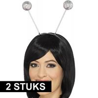 Smiffys 2x Diadeems met disco bollen Multi