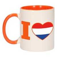 Shoppartners I love Holland mok/ beker oranje wit 300 ml Multi