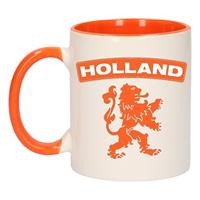 Shoppartners Holland oranje leeuw mok/ beker oranje wit 300 ml Multi