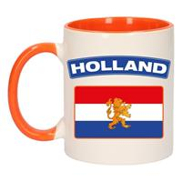 Shoppartners Holland vlag mok/ beker oranje wit 300 ml Multi