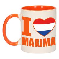 Shoppartners I love Maxima mok/ beker oranje wit 300 ml Multi