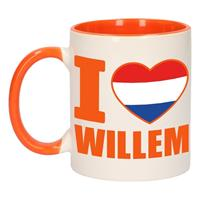 Shoppartners I love Willem mok/ beker oranje wit 300 ml Multi